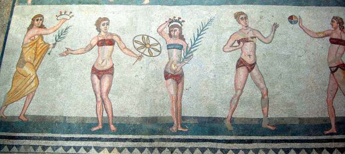 The famous bikini girls in the Roman villa del Casala, Piazza Armerina, Sicily