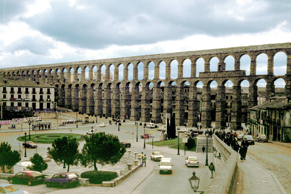 The Ancient Roman aqueduct in Segovia, Spain, still functioning. I've bathed in water that came along this aqueduct. Yeah, I didn't have greasy hair when I was on holiday in Spain.