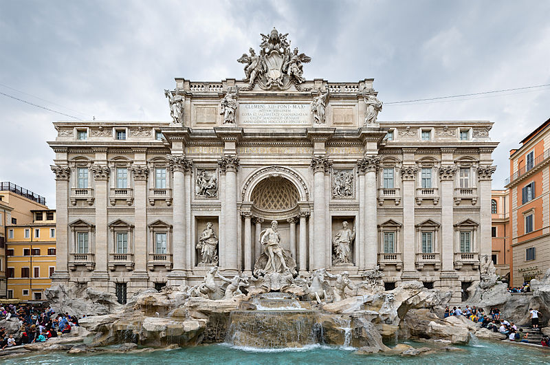 The Trevi Fountain, Rome. The water in this fountain comes entirely via an ancient Roman aqueduct, no electrical motors required. I wonder if it's allowed to shampoo or wash behind one's ears in it...