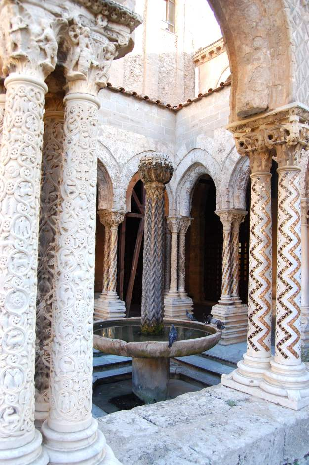 A view of the Arabic garden in the courtyard of Monreale Cathedral.