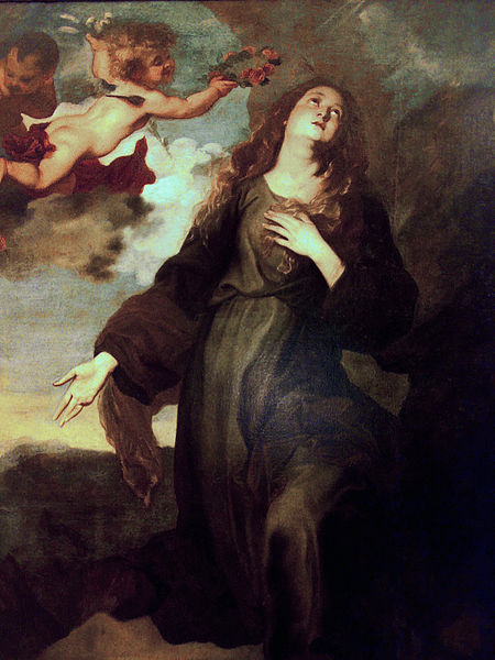 Santa Rosalia painted by Van Dyck in Palermo, whilst the artist was desperately hoping NOT to catch the plague