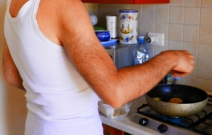 Please take note of the white vest, which you must wear whenever deep frying your meals, should you wish to adhere to the Mediterranean Diet properly
