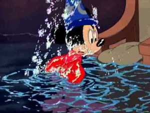 mickey in water