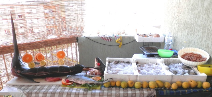 SicilianHosewife - fishmonger stall with swordfish