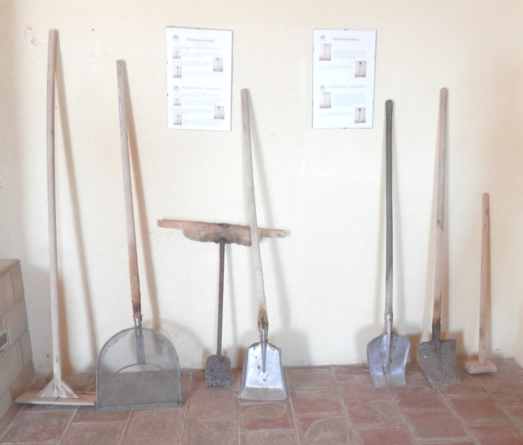 Some of the tools used for shovelling and sifting salt from the salt marshes into heaps. The workers wear sterile wellington boots, but little else as they work at the late end of summer when the heat is sweltering.