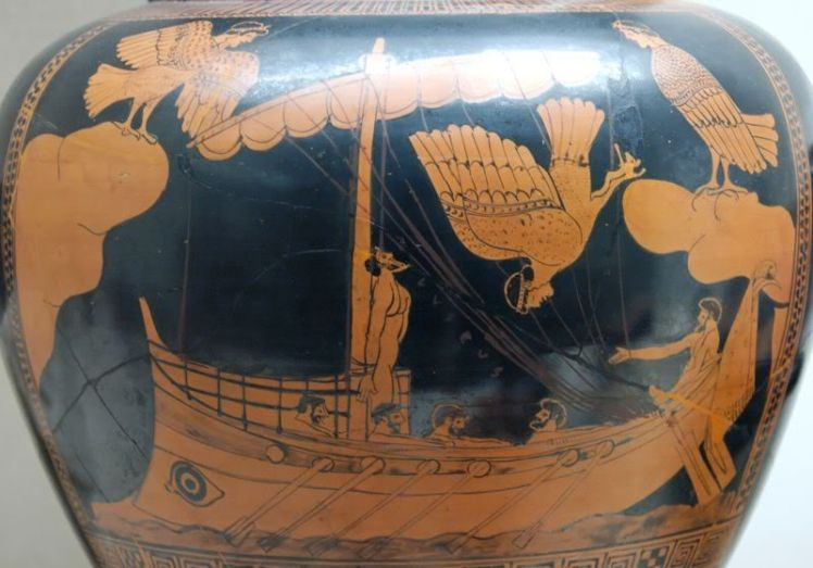 This illustrates one of hte many hazards of sailing on ancient Greek boats: Harpies with unkempt hair  might fly past with the aim of puking on you