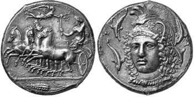 Coins from ancient Syracuse. These were well trusted and highly valued, much to the envy of the Athenians, and are a major feature of the Dolce & Gabanna Summer 2014 collection