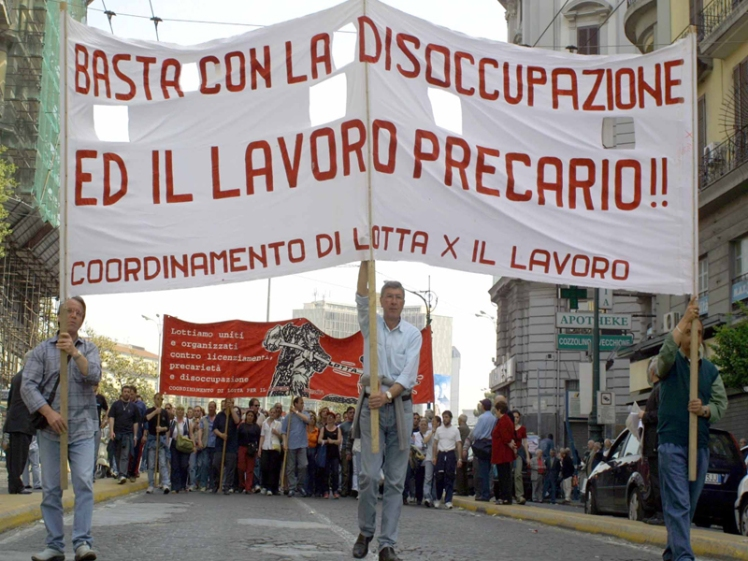 A protest march in Catania demanding the government do something to help create jobs
