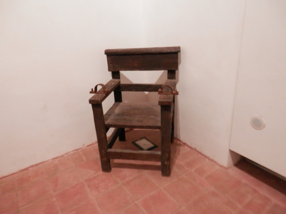 People on trial were strapped into this chair, Palazzo Steri, Palermo