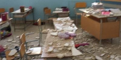 Some children ended up in hospital with back injuries and cuts when this primary school roof collapsed