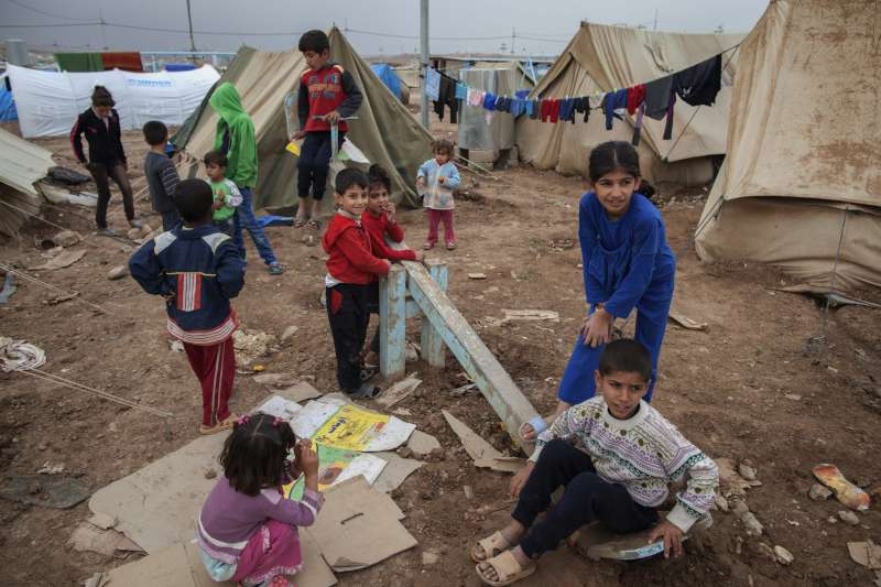 Children in a refugee camp in Lebanon: there is no schooling for them