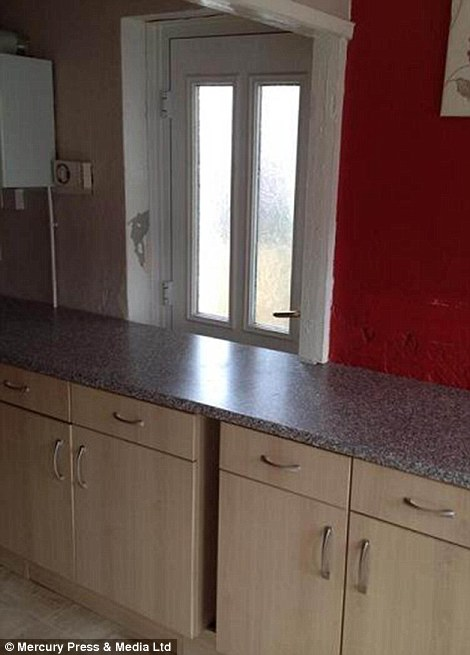 Newly refurbished kitchen! (Please climb over the counter top if you wish to leave by the back door.)